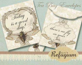 printable Tea Bag Envelopes INSTANT DOWNLOAD collage sheet no fly