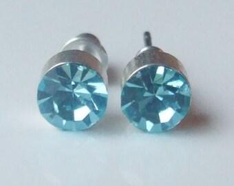Vintage 925 Sterling Silver Blue Stone Stud Earrings