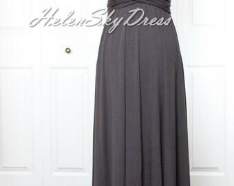 Convertible Infinity Full length Bridesmaids Dress in dark Grey