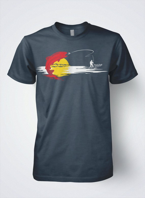 Fishing t shirt colorado fishing flag fly fishing by deaddrift for Fly fishing clothing