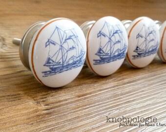 SET OF 4 - Blue and White Nautical Ship Ceramic Knob with Silver Base - Sailor Nursery Decor - Ocean Boating Boy Decorative Pirates Knob