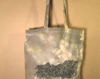 Silk Screen and Hand Dyed Cotton Tote