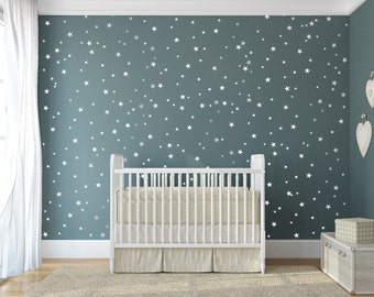 star vinyl wall decal - 148 silver stars - star wall decal art sticker for baby room nursery - silver vinyl star wall decals