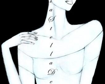 Karlie Kloss Fashion Illustration Art original signed