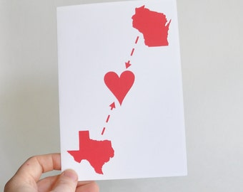 Holiday Long Distance Map Card Custom Made Personalized with Your Two States