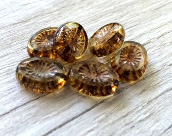 Czech glass beads, Czech picasso oval beads topaz picasso pack of 6