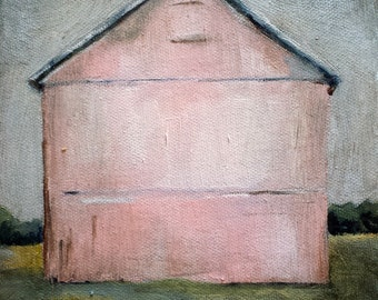 Barn painting print of original oil painting Pink Barn