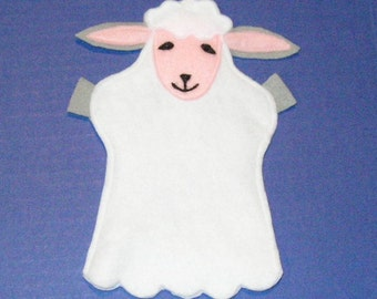 Sheep Hand Puppet, Felt Lamb Party Favor