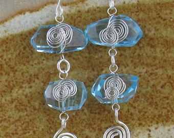 Wire Wrapped Blue Topaz Earrings, Wired Gemstone Earrings, Wrapped Gemstone Silver Earrings, Blue Stone Wire Jewelry, Wrapped Topaz Jewelry