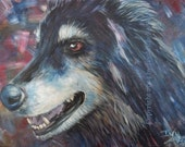 Collie (Wolf, Dog), Art Print of Acrylic Painting on Abstract Background