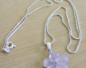 Amethyst Flower Pendant with Sterling Silver Chain