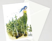 Birthday Greeting Card - LADY ASPEN - Birch trees aspen forest watercolor art card on recycled paper with envelope blank inside Oladesign