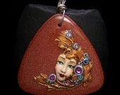 Bejeweled Goddess on Copper Goldstone X-Large Pendant or Bead metallic Polymer Clay on goldstone Triangle