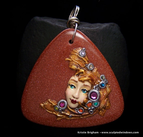 Bejeweled Goddess on Goldstone XL Pendant or Bead Polymer Clay on copper goldstone Triangle