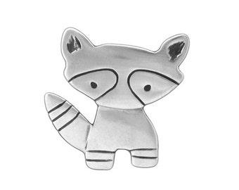 Sterling Raccoon Necklace - Silver Raccoon Pendant