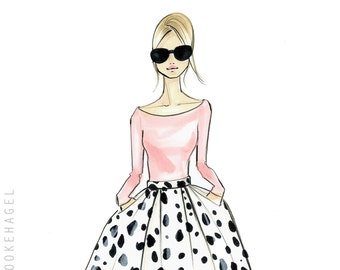Fashion Illustration-Fashion Print-Fashion Art-Fashion Sketch-Fashionista-Fashion Decor-Dalmation Print-Pink-Reiley-by-Brooke Hagel
