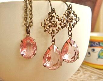 Vintage Earrings, Pink Necklace, Pink Earrings, Crystal Rhinestone Dangle Earrings