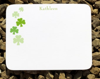 Irish Personalized Stationery - Shamrock - Personalized Stationery - Notecards Notepads