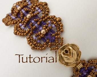 Beadwoven Bracelet Tutorial Pearls and Scales with seed beads and pearls - Instant Digital Download