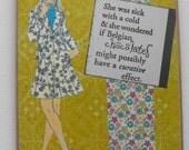 Vintage Collage Art Card Handmade Hand stamped Relationships Romance Humor Blank inside