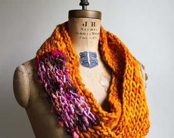 Bohemian knit loop infinity scarf. Amber. Pink. Orange. Brown. Circle scarf. Warm scarf. Butterscotch. Handmade knitwear. Thick scarf.