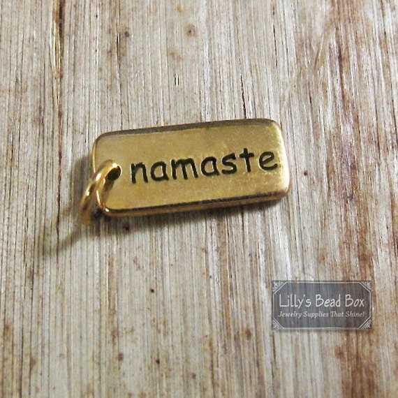 Gold Namaste Charm, Natural Bronze Namaste Pendant, Personalized Yoga Charm, Word Charm, Double Sided (CH 360)