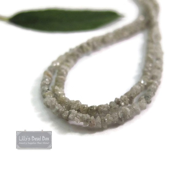 Little Diamond Beads, Rough Silver Diamond Nuggets, Gray Diamond Beads, Conflict Free, 15 Inch Strand (S-Di1)