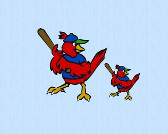 Baseball Bird - Machine Embroidery Design File in two sizes - Batter - At Bat
