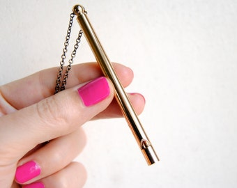 SALE - Gold Whistle Necklace - FREE US Shipping