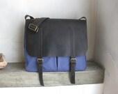 Messenger Bag Canvas Leather Straps Cross Body Laptop