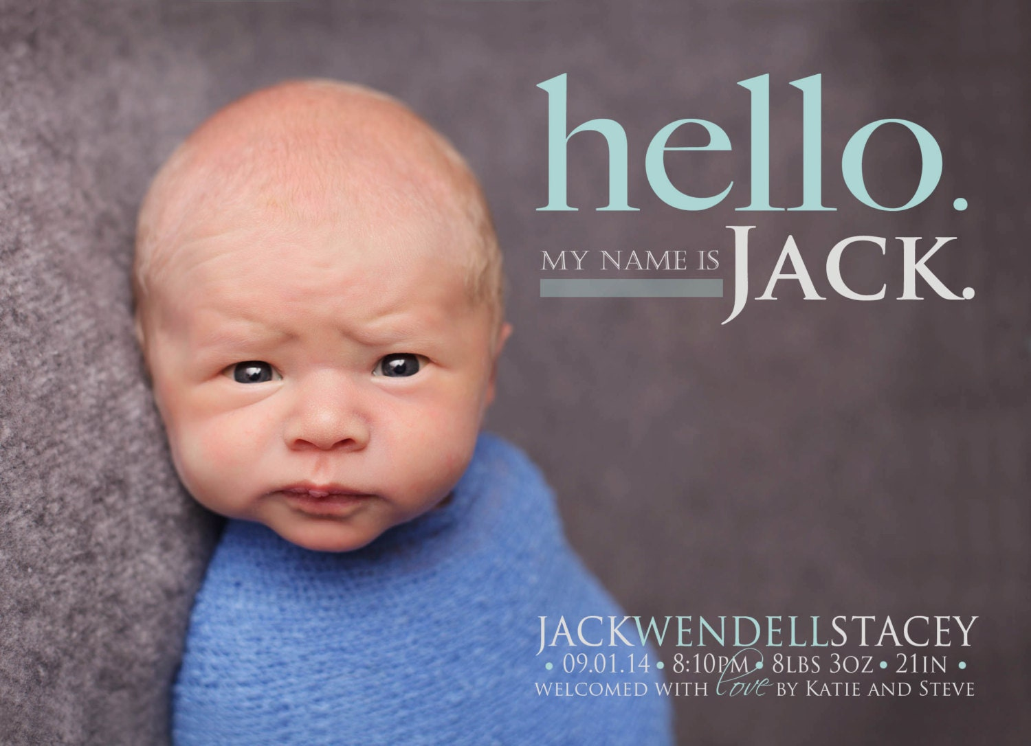 HELLO My Name Is BIRTH ANNOUNCEMENT Photo Baby Announcement