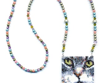 Gray Cat Peyote Seed Bead Necklace