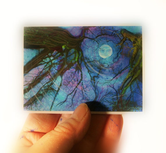 moon, Winter moon, ACEO original, Atc, Fine art photograph, miniature 2.50x3.50, Blue moon, winter trees, gift #aceo