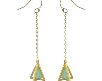 Dangling Gold and Mint Pyramid Earring // Hand Enameled 3-D Pyramid Gold Earrings by Virginie Millefiori