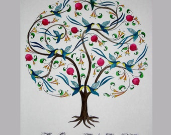 Family Tree personalized as a 'Tree of Life', Handpainted Original Design, 20x16 - Made to order