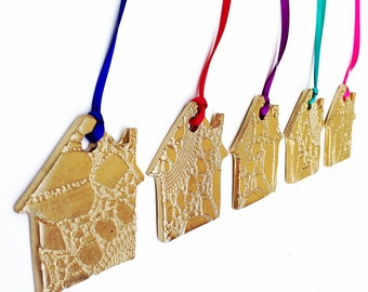 5 Gold House Christmas Ornaments Ceramic Christmas Tree Decorations Holiday Decor Golden Porcelain Houses - Choose your ribbon colour