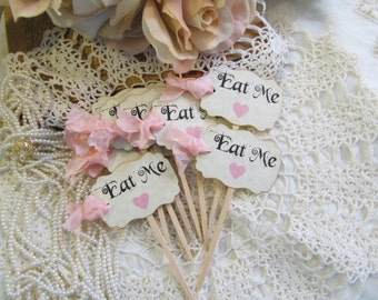 Alice Eat Me Cupcake Toppers Picks in Baby Pink or Baby Blue Hearts & ribbons -Set of 18- Choose Ribbons- Birthday Baby Shower Gender Reveal