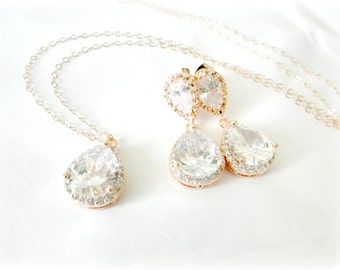 Rose Gold Bridal Jewelry Set, CZ Cubic Zirconia Wedding earrings and pendant necklace with 14kt rose gold chain Pink Gold E100C
