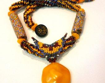 Tribal Connection - Baltic Amber & African Trade Bead/ Italian Millefiori Beadwoven Necklace