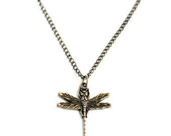 Antique bronze dragonfly delicate minimal charm necklace on antique bronze chain // Inspired by Coheed and Cambria