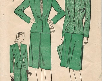 1940s Advance 3964 Vintage Sewing Pattern Misses Suit, Tailored Jacket, Skirt Size 16 Bust 34
