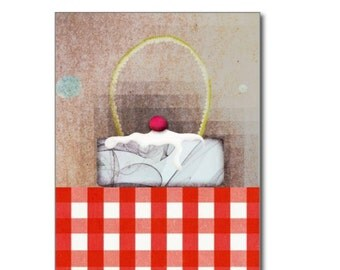 Postcard - Red Gingham Vintage Cake