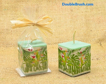 Rainforest Candle Green Soy Candle Square Votive Candle Hawaiian Gift Party Favor Hawaii Candle Gift Sandalwood Scented Woodsy Fragrance