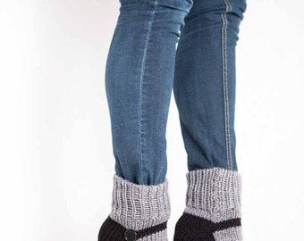 Knit Slipper Sock Adult Mary Jane Slippers Sox Grey House Slippers Gray Womens Slippers Home Slippers Black House Shoes Home Shoes