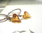 Sale, Copper earrings Swarovski heart crystals amber dangle valentine fashion pamelasjewelry