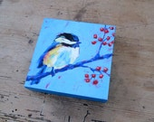 Chickadee with Winterberry - Wood Block Print - Bird Art - Home Decor - Multiple Sizes Available
