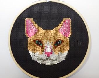 Orange Tabby Cat Face Cross Stitch *Pattern Only*