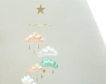 """Star Nursery cloud mobile """"JIHAN""""Peach,White,Mint by The Butter Flying-peach nursery, mint nursery, white nursery"""