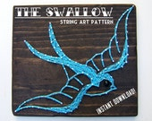 "String Art Pattern - Vintage Swallow Tattoo - 8.5"" x 13"""