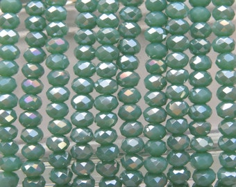 3.5x2.5mm Faceted Opaque Green Turquoise AB Chinese Crystal Rondelle Beads 7 Inch Strand (35CCS10)